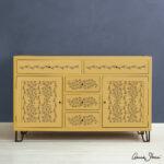 Indian-Paisley-Garland-Stencil-Furniture-Honfleur-on-Mustard(1)